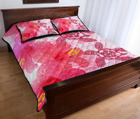 Image of Hawaii Turtle Hibiscus Polynesian Quilt Bed Set - Pinky Style - AH - J2