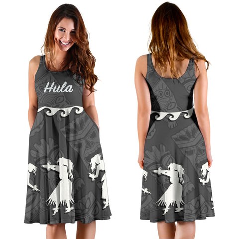 Hawaiian Hula Girls Dance in Gray Midi Dress - AH J5 - Alohawaii