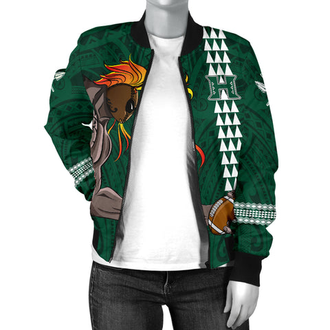 Hawaii Warrior Helmet Football Green Kakau Women's Bomber Jacket - AH - J1 - Alohawaii