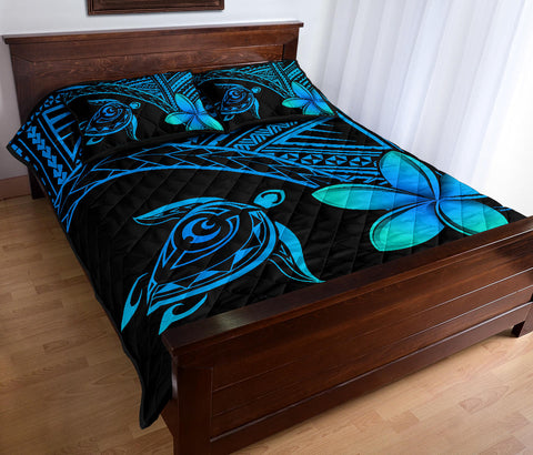 Hawaiian Turtle Plumeria Polynesian Quilt Bedding Set Blue - AH J0 - Alohawaii