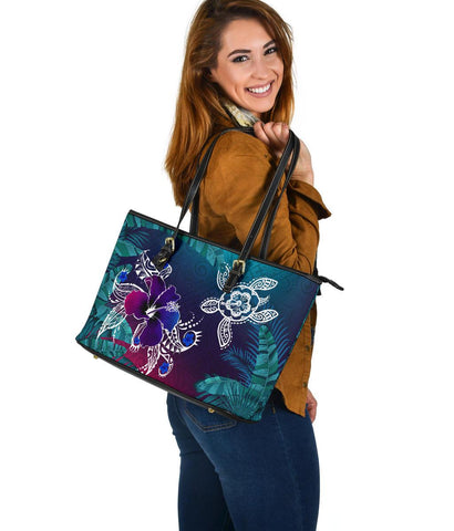 Alohawaii Large Leather Tote - Hawaii Turtle Flowers And Palms Retro - AH J8 - Alohawaii
