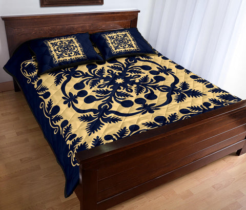Image of Hawaii Quilt Bed Set Royal Pattern - Indigo - AH - J6 - Alohawaii