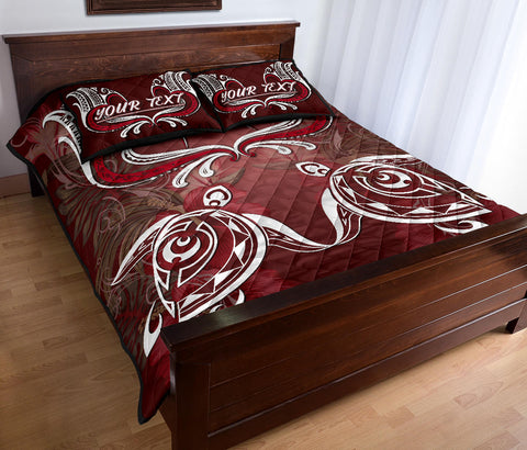 (Personalized) Hawaii Love Valentines Day Turtle Polynesian Quilt Bed Set - Bray Style - AH - J4