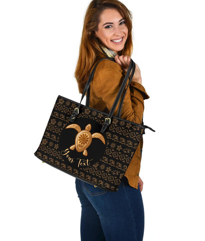 Personalized - Hawaii Turtle Golden Pattern Large Leather Tote Bag - AH - J4 - Alohawaii