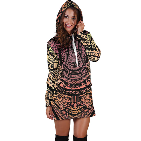 Image of Polynesian Tribal Hoodie Dress - AH - J7 - Alohawaii
