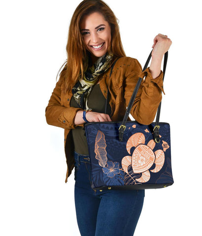 Hawaii Kakau Polynesian Aloha Turtle Map Small Leather Tote - Indigo - AH - J6 - Alohawaii