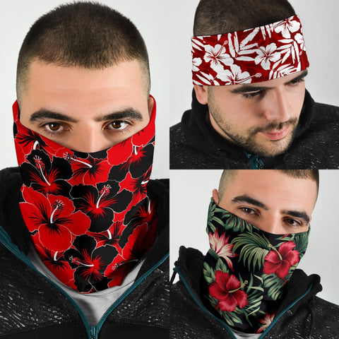 Hawaiian Hibiscus Red Set Bandana 3-Pack J0 - Alohawaii