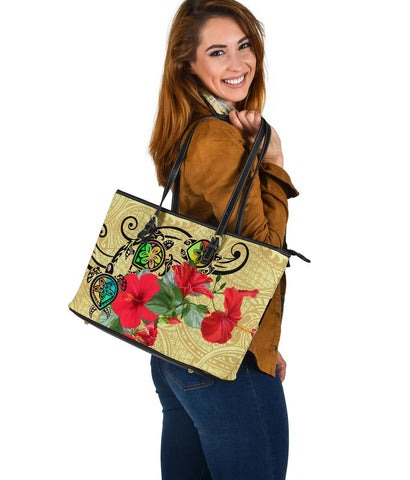 Image of Hawaiian Marble Turtles Hibiscus Leather Tote Bag Large AH J0 - Alohawaii