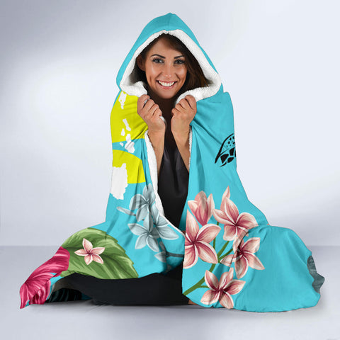 Image of Hawaii Kanaka Turtle Hibiscus Plumeria Tropical Style -  Hoodie Blanket AH J2 - Alohawaii