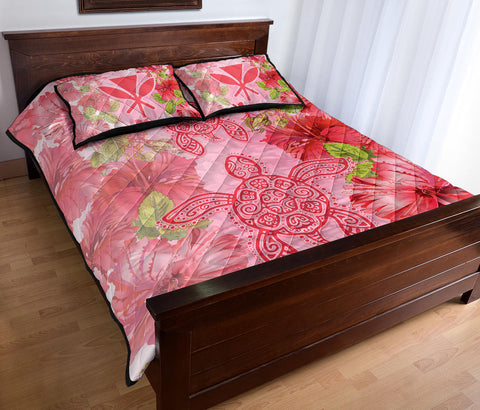 Hawaii Turtle Hibiscus Quilt Bed Set - Pink Style - AH - J4