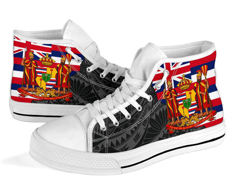 Hawaii High Top Shoes State Royal Flag Polynesian Black Pride AH J1 - Alohawaii
