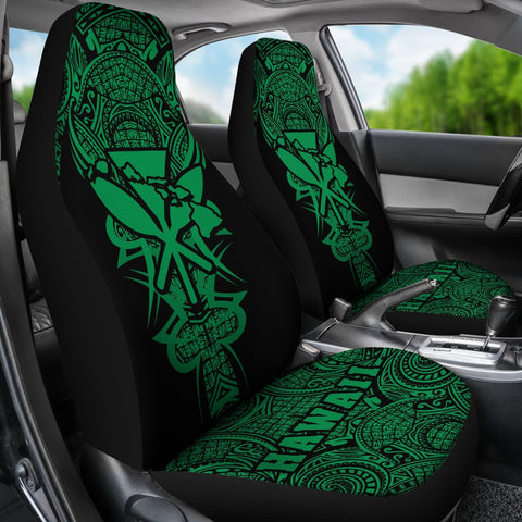 Kanaka Map Polynesian Car Seat Cover - Green - Armor Style - AH J9 - Alohawaii
