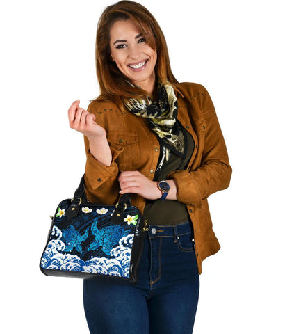Hawaii Plumeria Turtle Sea Hawaiian Shoulder Handbag - Zun Style - AH - J3