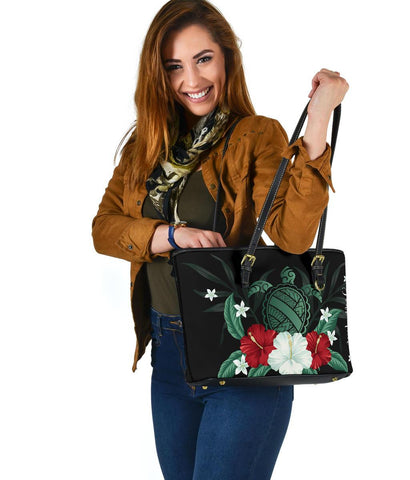 Personalized - Hawaii Turtle Hibiscus Plumeria Small Leather Tote Bag - AH - J4 - Alohawaii