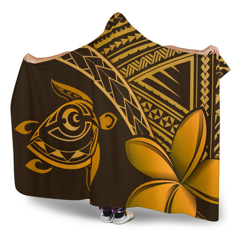 Alohawaii Hooded Blanket - Hawaii Turtle Plumeria Brown - AH J0 - Alohawaii