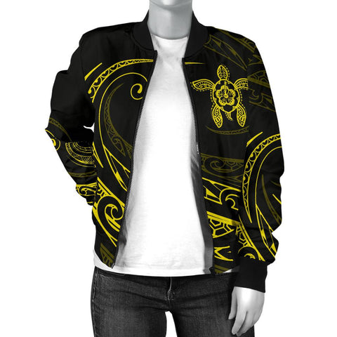 Hawaii Turtle Polynesian Women's Bomber Jacket - Yellow - Frida Style - AH J9 - Alohawaii