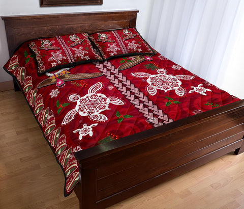 Hawaii Turtle Santa Claus Pattern Christmas Quilt Bed Set