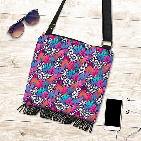 Hawaii Tropical Exotic Leaves Crossbody Boho Handbag - AH - J71 - Alohawaii