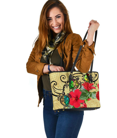 Hawaiian Marble Turtles Hibiscus Leather Tote