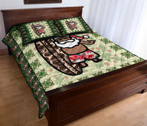 Hawaiian Quilt Christmas - Santa Claus Surf Quilt Bed Set - AH J8