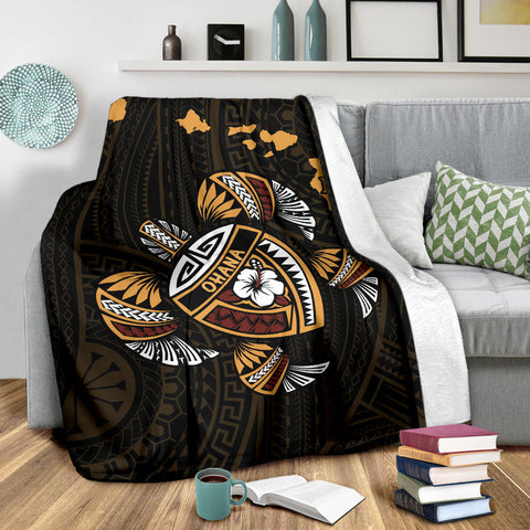 Image of Hawaii Kakau Polynesian Turtle Map Premium Blanket - AH - J6 - Alohawaii