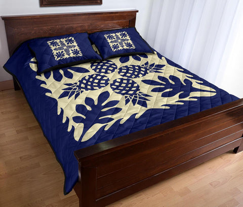 Image of Hawaiian Quilt Bed Set Pineapple Pattern - Blue - AH - J2
