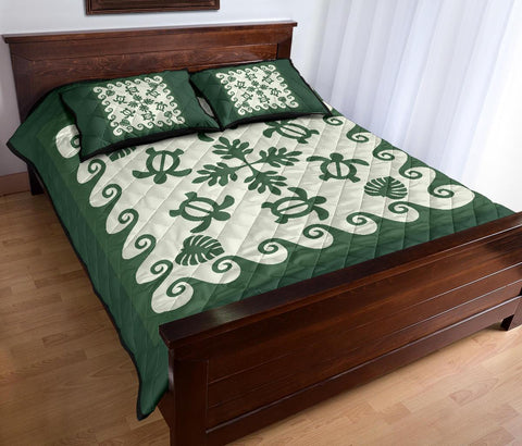 Image of Hawaiian Quilt Bed Set Turtle Pattern - Green - AH - J2