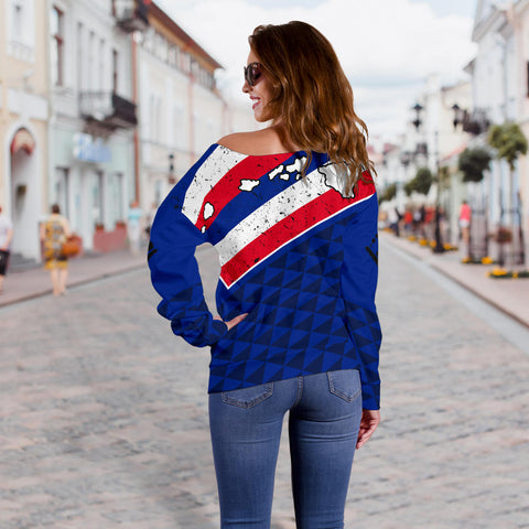 Hawaii Flag Women's Off Shoulder Sweater