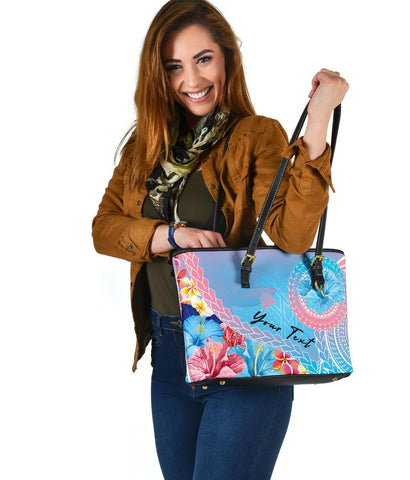 Personalised - Hawaii Kanaka Polynesian Hibiscus Small Leather Tote Bag - AH - J5 - Alohawaii
