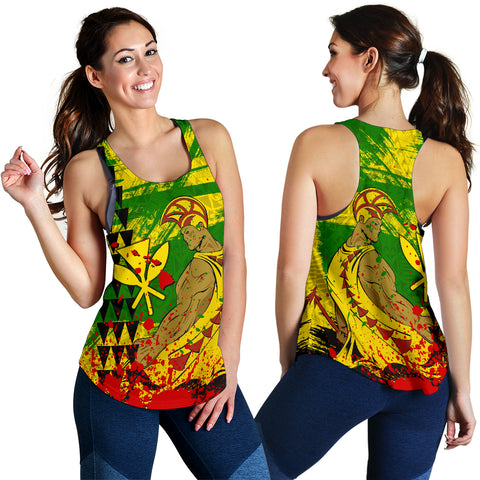Image of Hawaii Reggae Kanaka Maoli Warrior Spearhead Women's Racerback Tank