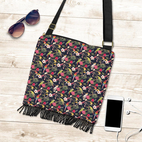 Image of Hawaii Tropical Hibiscus, Strelitzia Palm Leaves Crossbody Boho Handbag - AH - J71 - Alohawaii
