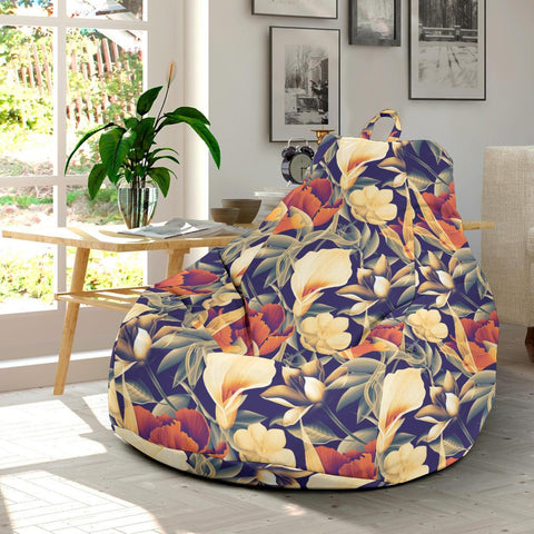 Hawaii Seamless Tropical Flower Plant And Leaf Pattern Background Bean Bag Chair - AH - J71 - Alohawaii