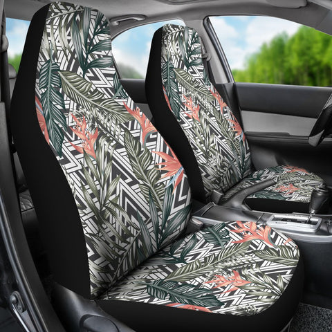 Image of Hawaii Tropical Palm Leaves And Flowers Car Seat Cover - AH - J7 - Alohawaii