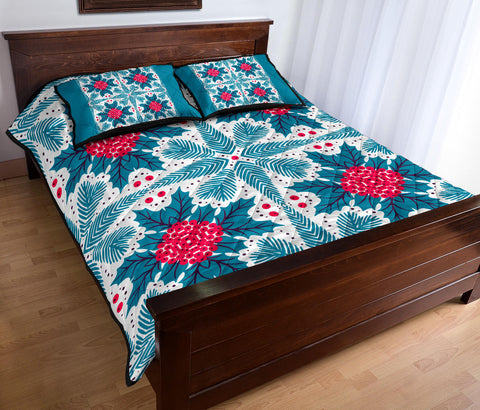 Image of Hawaii Pattern Christmas Tropical Hawaiian Quilt Bed Set