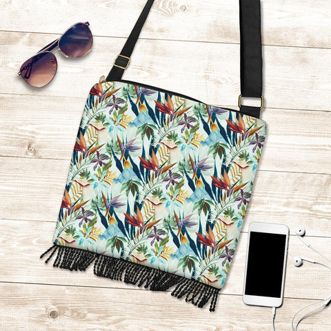 Hawaii Tropical Flower, Plant And Leaf Pattern Crossbody Boho Handbag - AH - J71 - Alohawaii