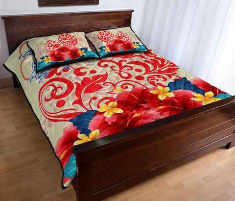 Hawaii Turtle Couple Hibiscus Valentine Pattern Quilt Bed Set - Romance Style - AH - J3