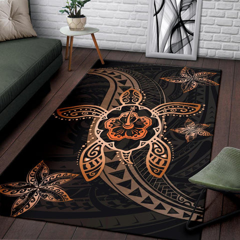 Kanaka Map Hibiscus Plumeria Turtle Art Polynesian Area Rug Orange AH J1 - Alohawaii