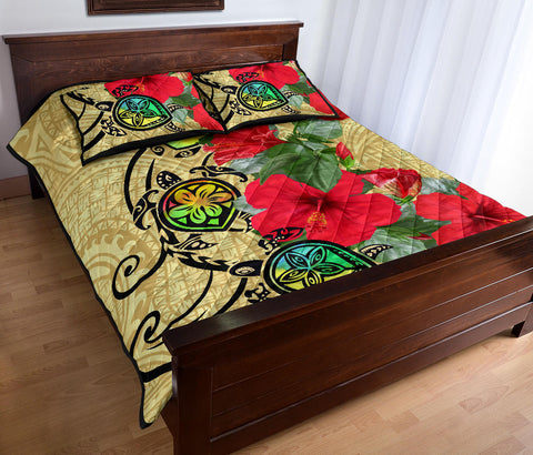 Hawaiian Turtle Hibiscus Quilt Bed Set