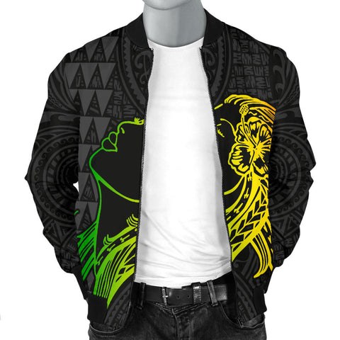 Hula Girl And Turtle Hibiscus Men's Bomber Jacket - AH J4 - Alohawaii