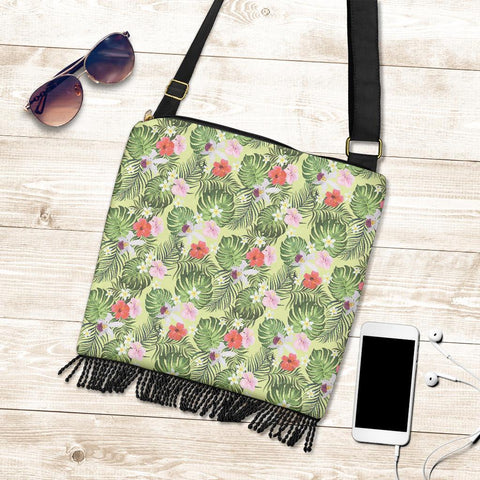 Image of Hawaii Tropical Hibiscus, Plumeria Green Crossbody Boho Handbag - AH - J71 - Alohawaii