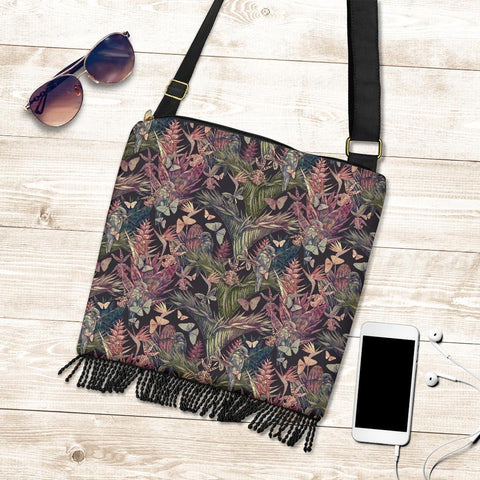Hawaii Palm Leaves, Tropical Flowers Crossbody Boho Handbag - AH - J71 - Alohawaii
