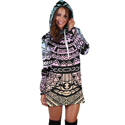 Polynesian Tribal Hoodie Dress 04 - AH - J7