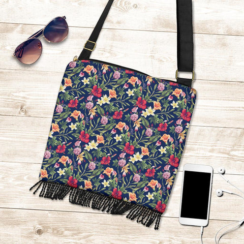 Image of Hawaii Tropical Hibiscus Red And Plumeria White Crossbody Boho Handbag - AH - J71 - Alohawaii