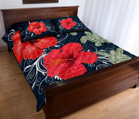 Hawaii Deep Blue Hibiscus Turtle Quilt Bed Set - AH - Mike Style - J5