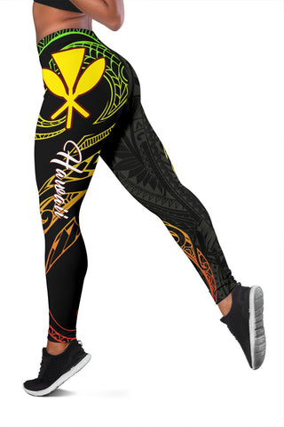 Image of Hawaiian Kanaka Polynesian Women's Leggings - Black