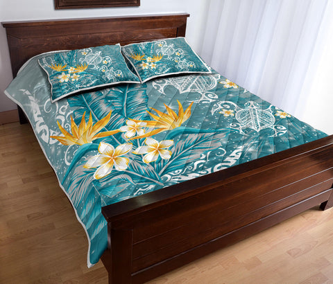 Hawaii Polynesian Turtles Plumeria Tropical Quilt Bed Set - Winter Style - AH - JA