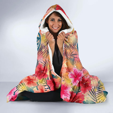 Hawaii Turtle Ohana Stary Night Hibiscus Hooded Blanket - AH - J4 - Alohawaii