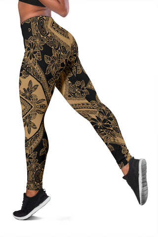 Polynesian Plumeria Mix Gray Hawaii Women's Leggings AH J2