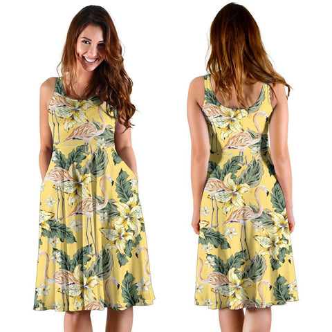 Hawaii Tropical Flamingo Yellow Midi Dress   - AH - J71