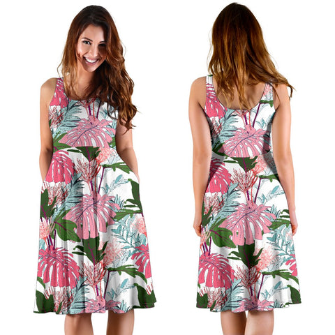 Hawaii Pink Monstera And Green Tropical Leaves White Midi Dress   - AH - J71 - Alohawaii